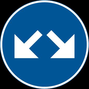 vilket märke innebär att du måste välja höger körbana?
